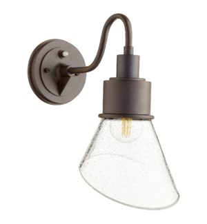 Torrey Oiled Bronze Clear Seeded Modern Farmhouse Outdoor Wall Light with Photocell
