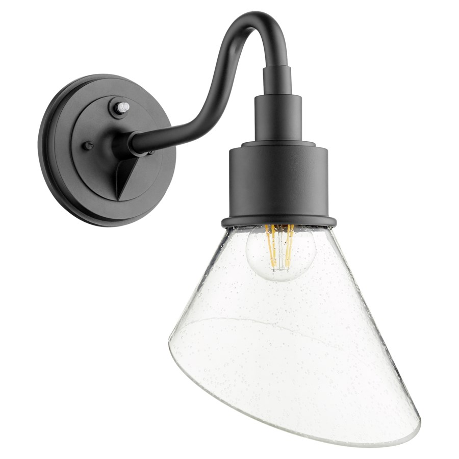 Torrey Black Clear Seeded Modern Farmhouse Outdoor Wall Light with Photocell