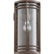 Larson Oiled Bronze Clear Hammered Glass Transitional Outdoor Wall Light