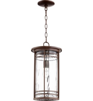 Larson Oiled Bronze Clear Hammered Glass Transitional Outdoor Pendant