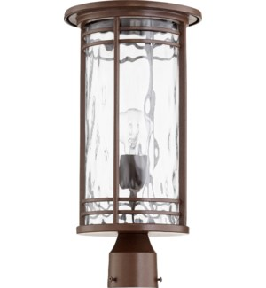 Larson Oiled Bronze Clear Hammered Glass Transitional Outdoor Post Light