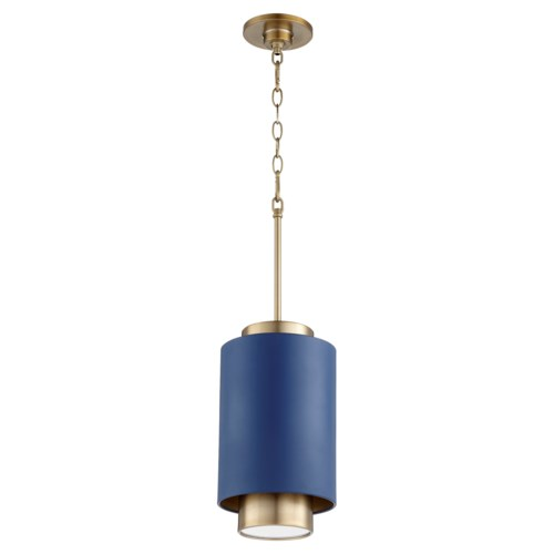 Two-Toned Blue/Aged Brass Cylinder Pendant