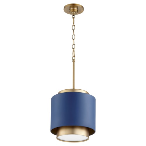 Two-Toned Blue/Aged Brass Drum Pendant