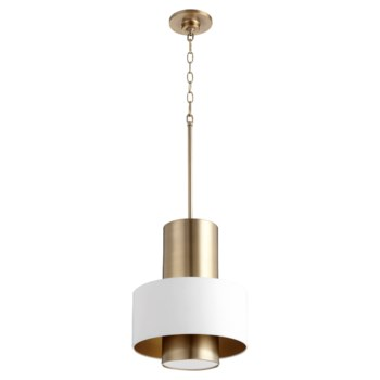 White and Aged Brass Soft Contemporary Pendant