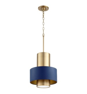 Two-Toned Blue/Aged Brass Cylinder Drum Pendant