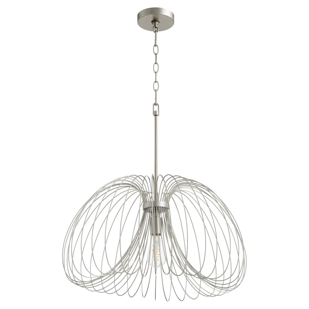 Brushed Silver Contemporary Pendant