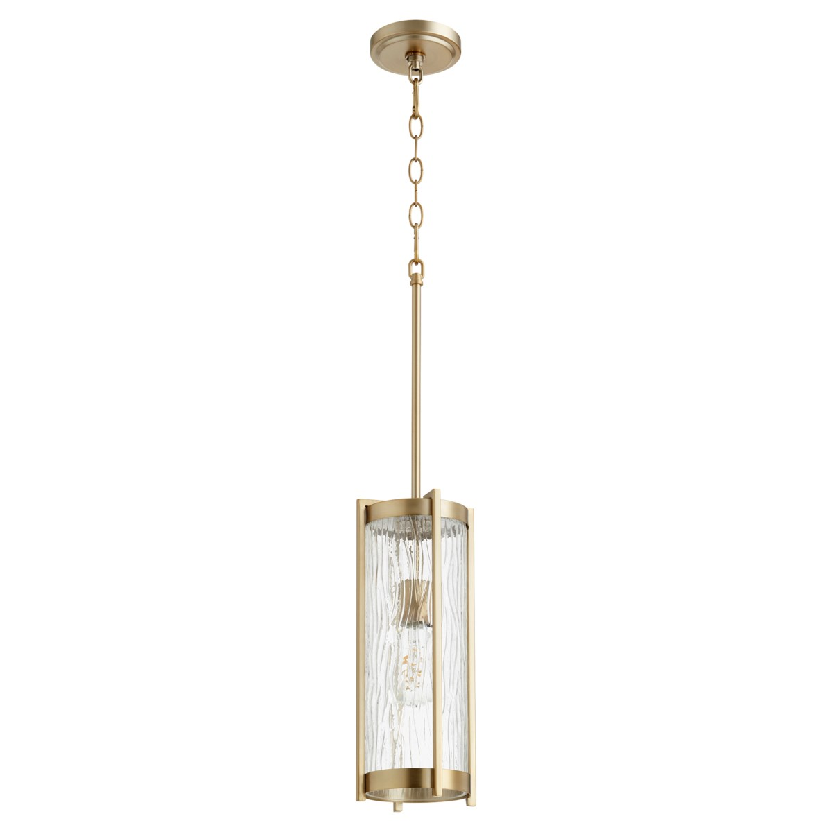 Chisseled Aged Brass Transitional Pendant