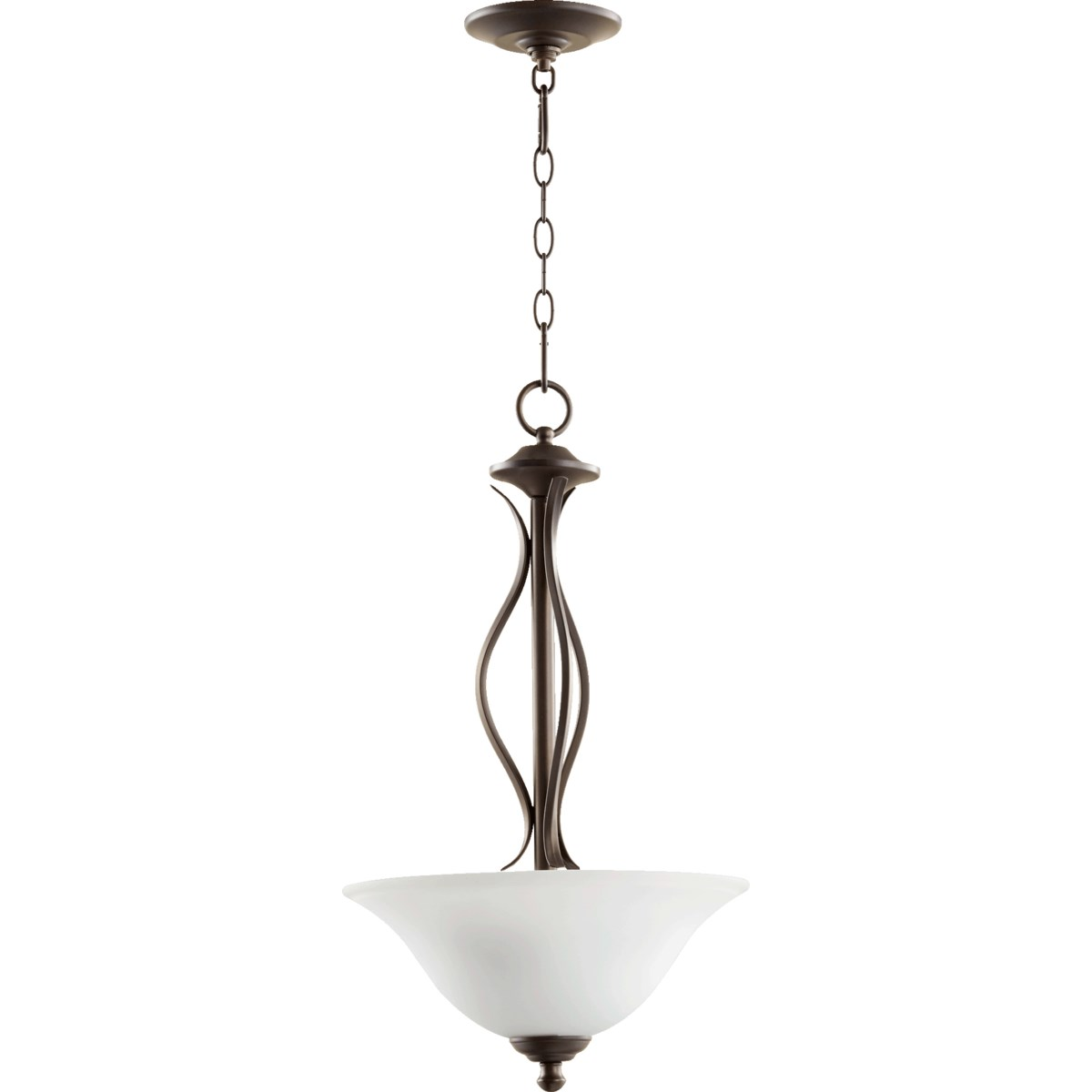Spencer Oiled Bronze with Satin Opal Glass Transitional Pendant