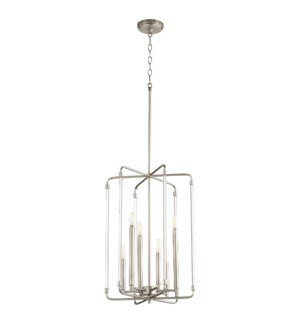 Optic 6 Light Satin Nickel Pendant