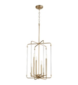 Optic 6 Light Aged Brass Pendant