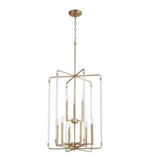 Optic 9 Light Aged Brass Pendant