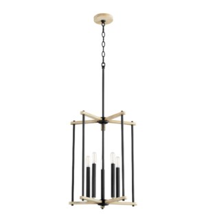 Silva 5 Light Black with Weathered Oak Finish Pendant