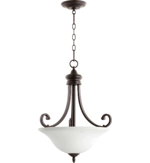 Bryant Oiled Bronze with Satin Opal Glass Traditional Pendant