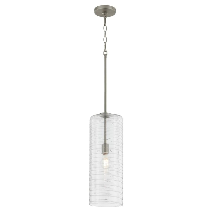 "Textured Glass 7"" Satin Nickel Pendant"