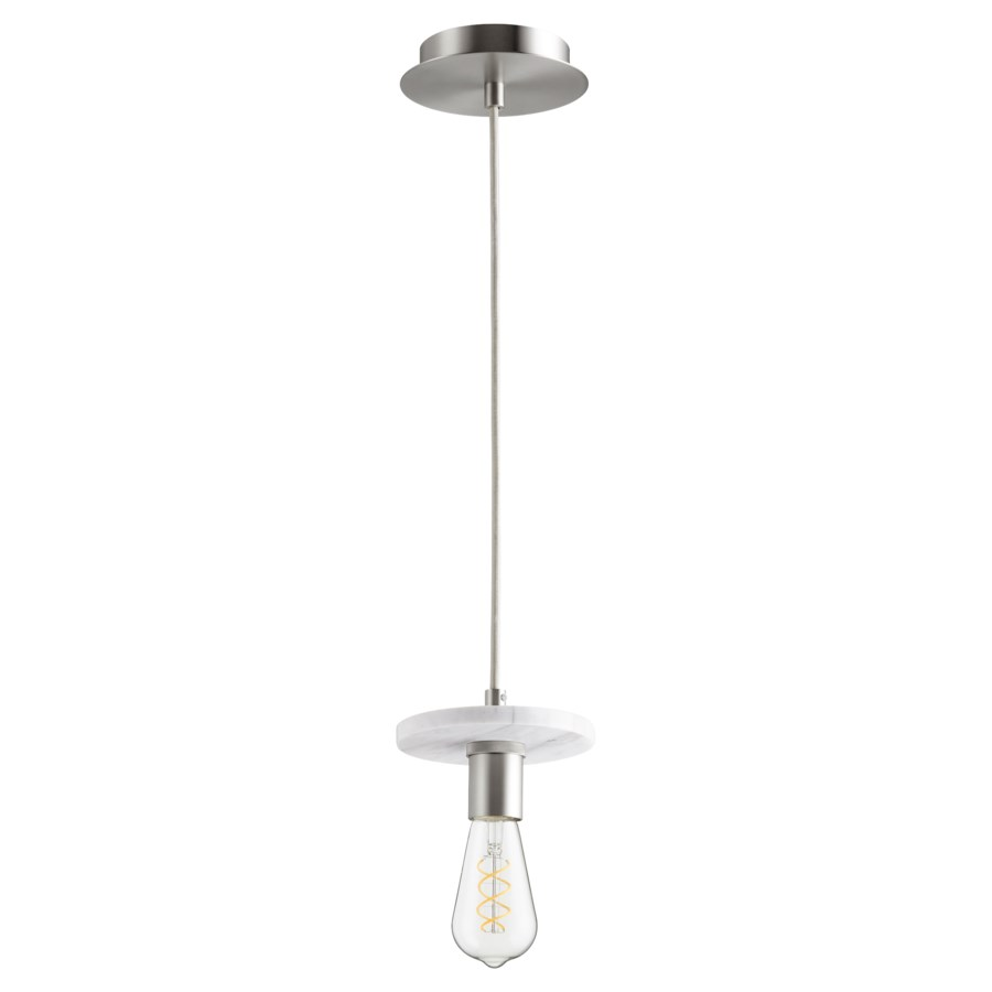 Satin Nickel with White Marble Contemporary Mini Pendant
