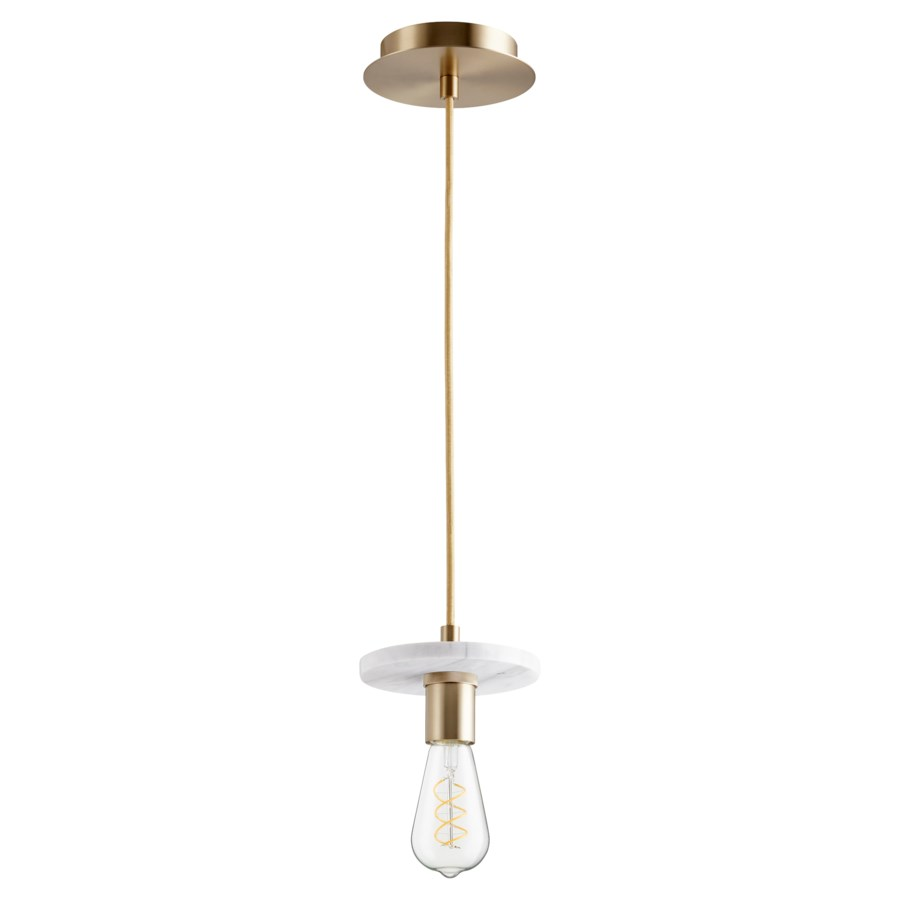 Aged Brass With White Marble Contemporary Mini Pendant