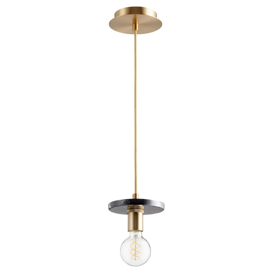 Aged Brass With Black Marble Contemporary Mini Pendant