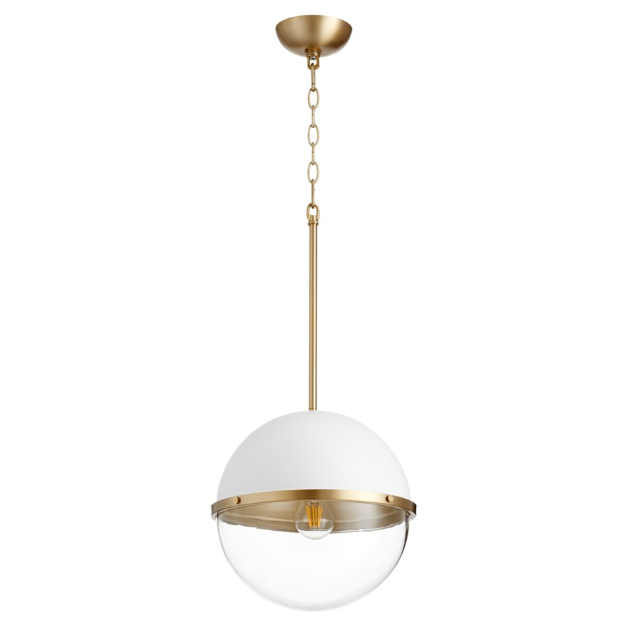 White with Aged Brass Soft Contemporary Globe Pendant