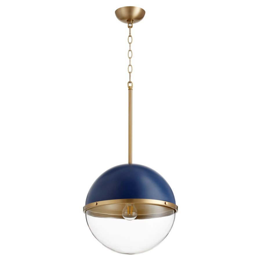 Aged Brass And Blue Soft Contemporary Globe Pendant