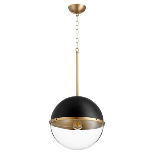 Black and Aged Brass Soft Contemporary Globe Pendant