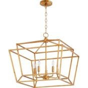 Monument 5 Light Transitional Gold Leaf Chandelier