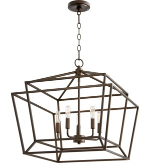 Monument 5 Light Transitional Oiled Bronze Chandelier