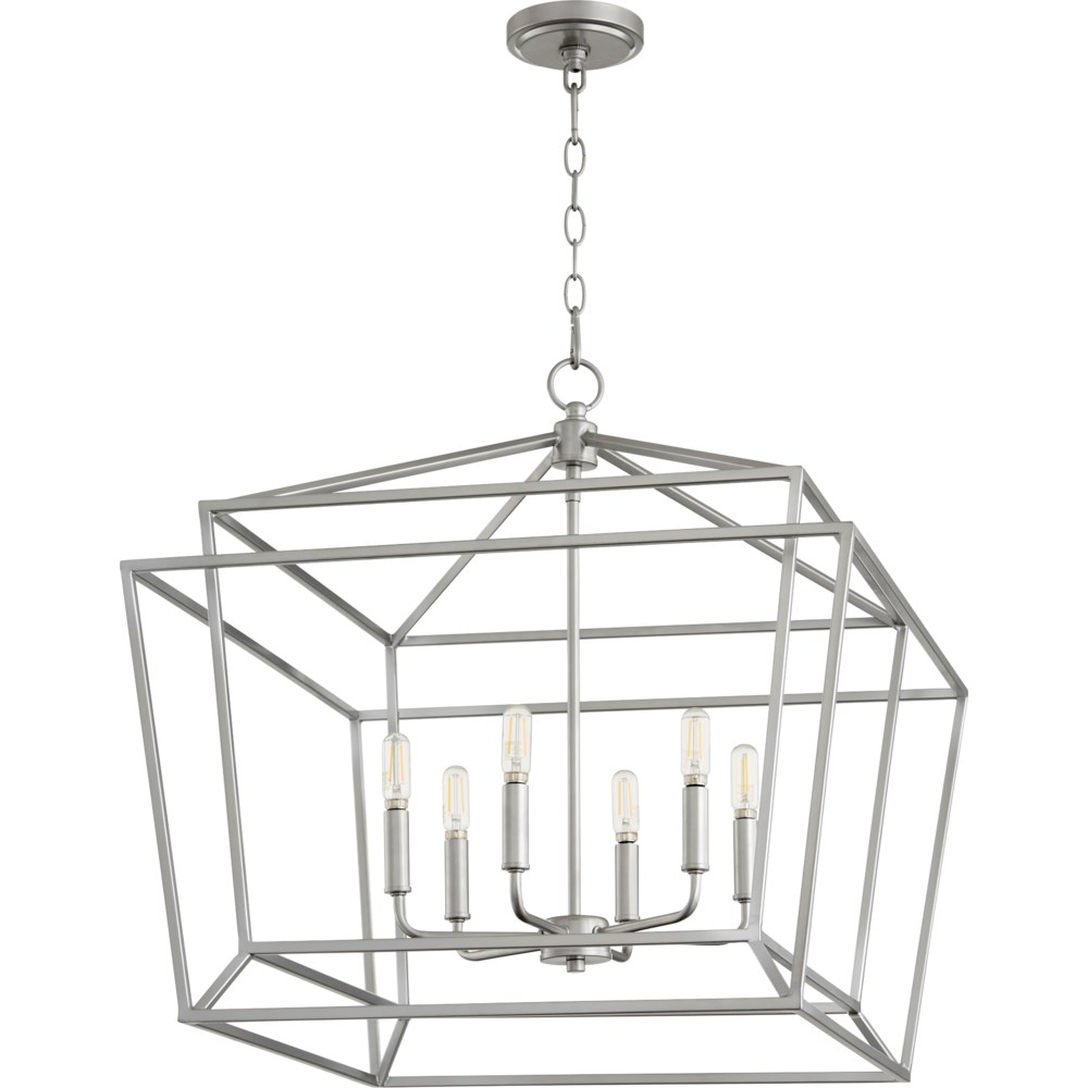 Monument 6 Light Transitional Classic Nickel Chandelier