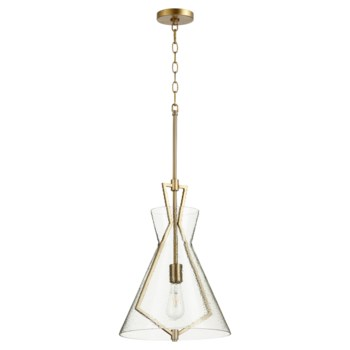 One-Light Stone Seeded Glass Aged Brass Pendant