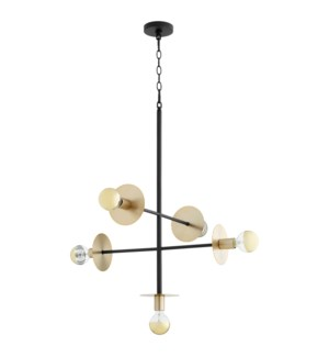 Voyager Black and Aged Brass Soft Contemporary Pendant