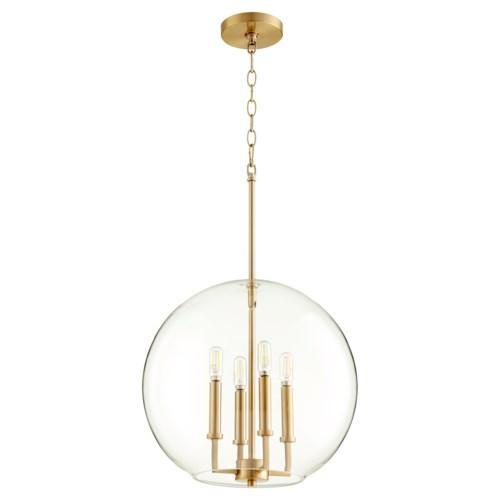 Aged Brass Transitional Globe Pendant