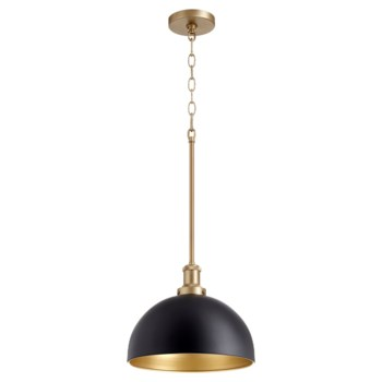 Black and Aged Brass Transitional Pendant