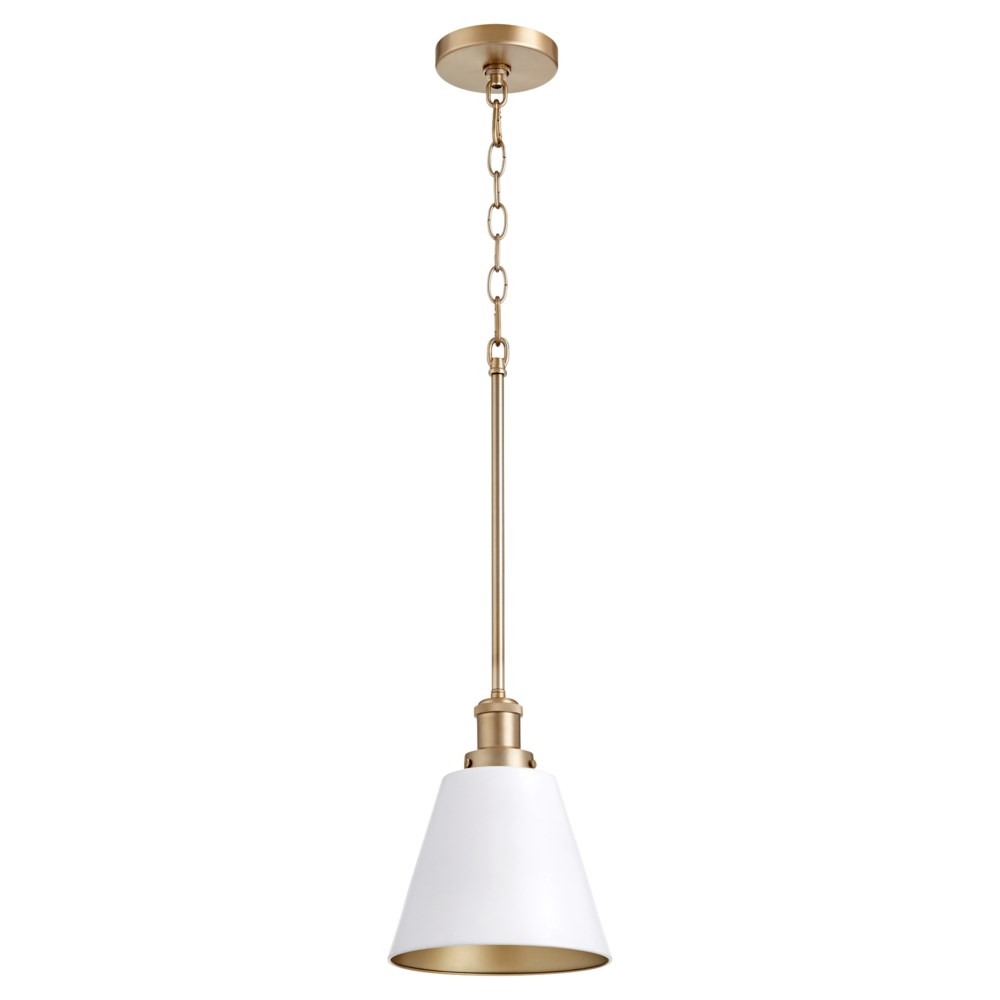 White with Aged Brass Transitional Pendant