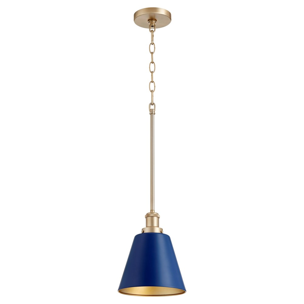 Aged Brass And Blue Transitional Pendant