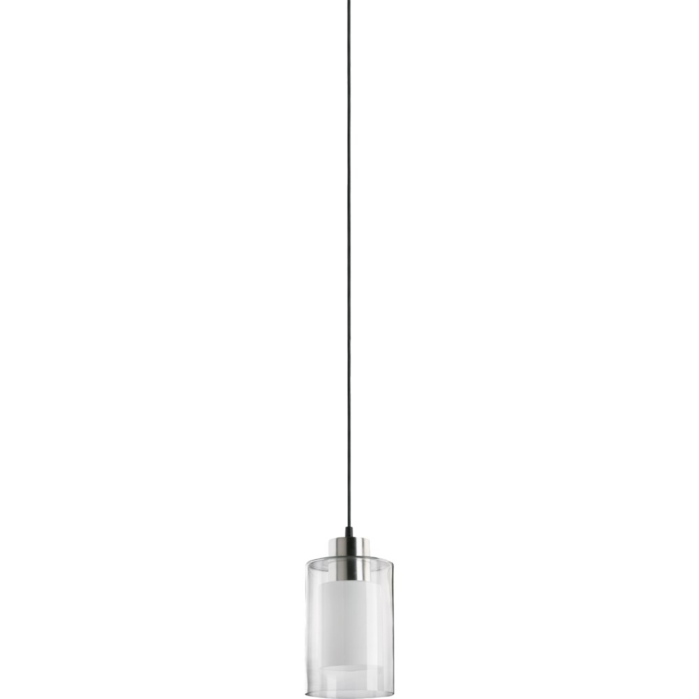 Satin Nickel Clear and White Transitional Mini Pendant