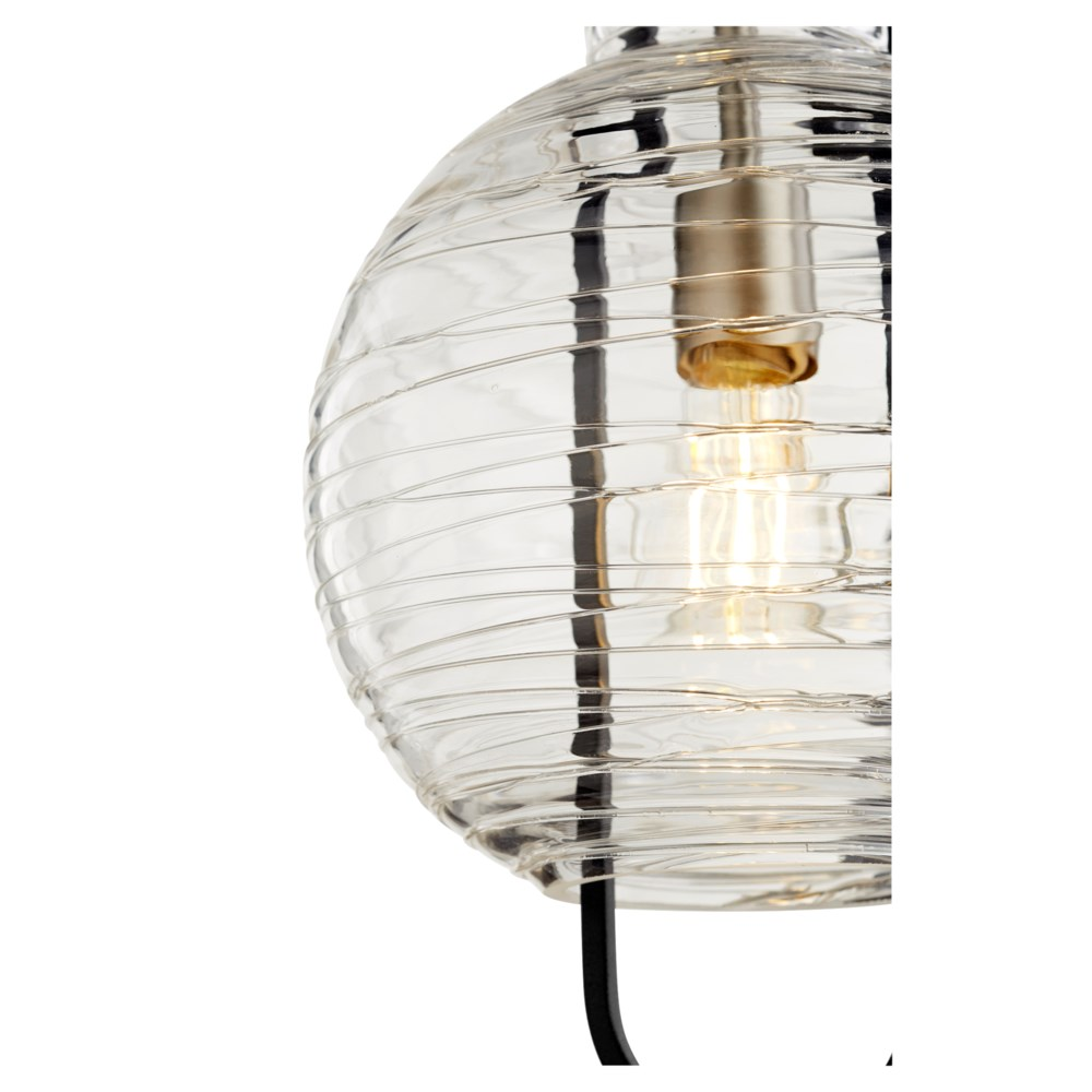 "Textured Glass 10"" Noir/Satin Nickel Pendant"