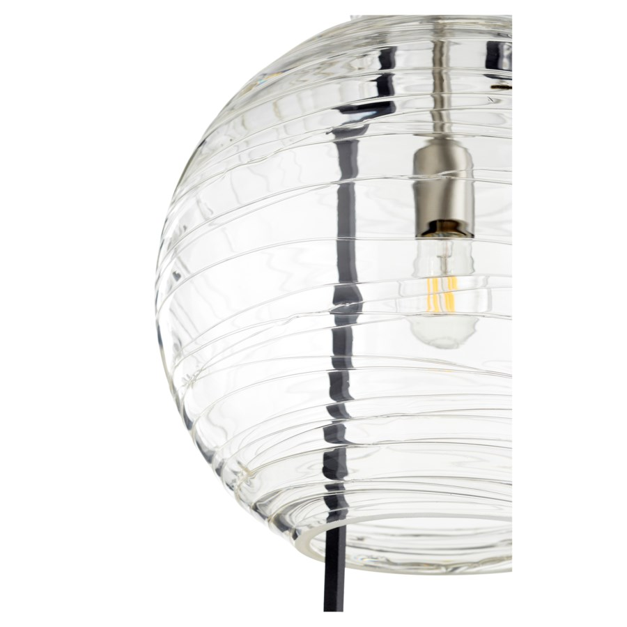 "One-Light Textured Glass 14"" Noir/Satin Nickel Pendant"