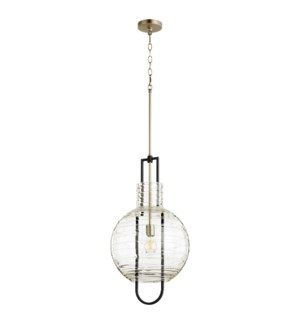"One-Light Textured Glass 14"" Noir/Satin Nickel Pendant"