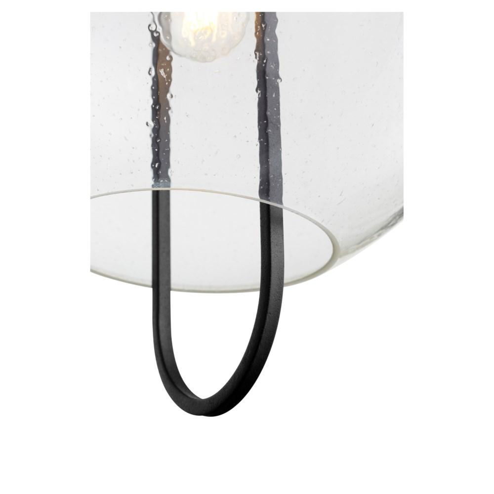 "Stone Seeded Glass 14"" Noir/Aged Brass Pendant"