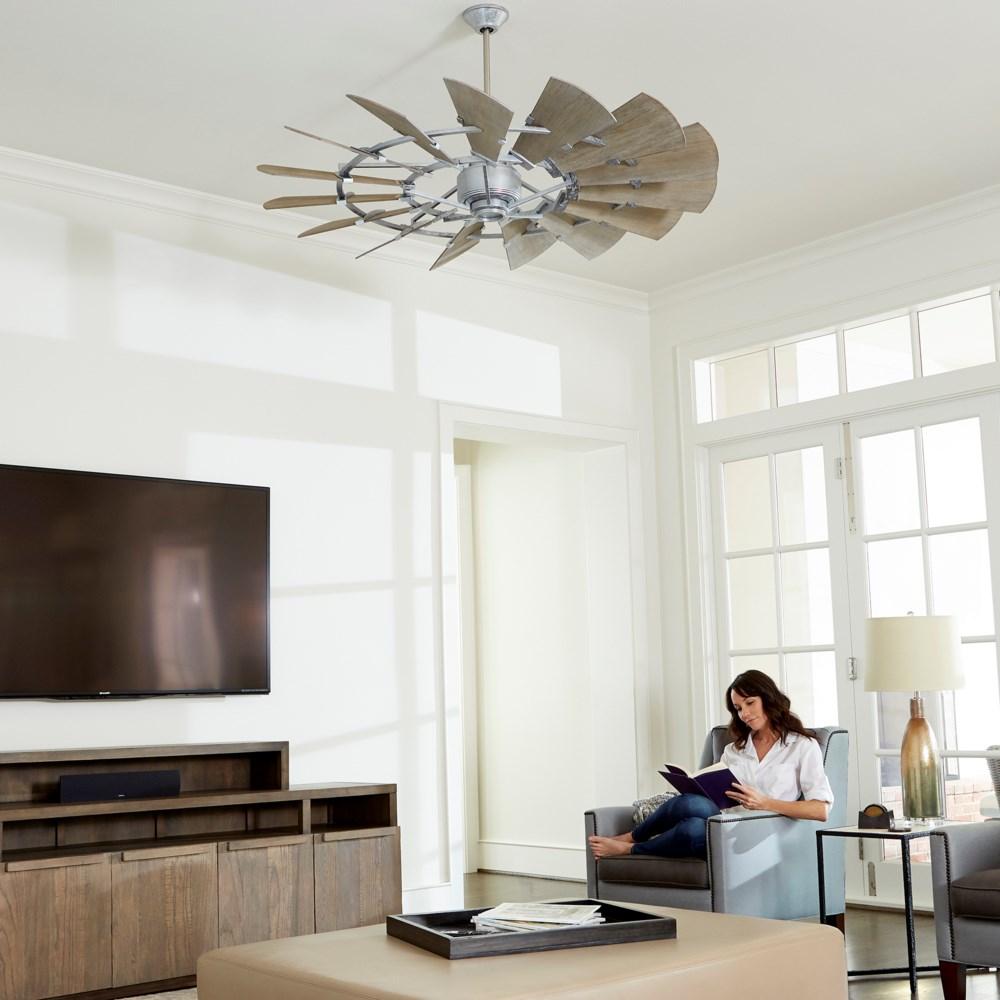 Windmill 60-in 15 Blade Galvenized Transitional Ceiling Fan