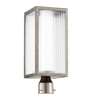 Maestro Weathered Zinc Soft Contemporary Outdoor Post Light