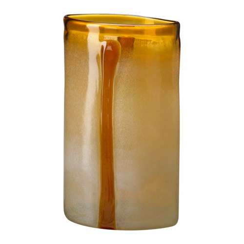 Lg Cream/cognac Vase