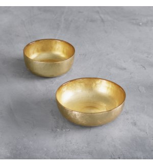GLASS New Orleans Shallow Round Foil Leafing Bowl Set of 2  (Gold)