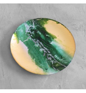 GLASS New Orleans Large Round Painted Platter (Green & Gold)