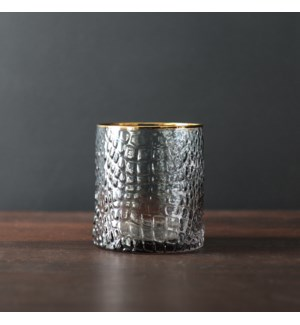 GLASS Croc Double Old Fashioned with Gold Rim (Smoke Grey)