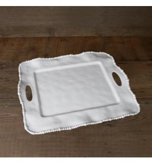 VIDA Alegria Rectangular Tray with Handles (White)