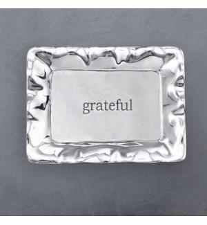 "GIFTABLES Vento Rectangular Engraved Tray ""grateful"""