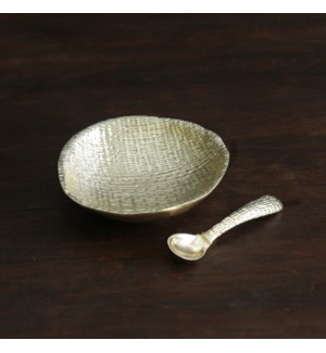 GIFTABLES Sierra Modern Tela Small Bowl  with Spoon (Gold)