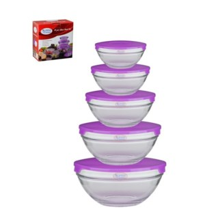 Glass Bowl 5pcs without Decal, Purple lid                    643700133465