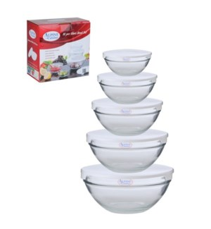 Glass Bowl 5pcs without Decal, White lid                     643700133489