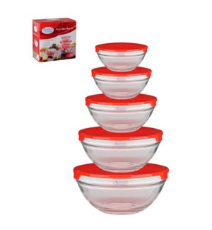 Glass Bowl 5pcs without Decal, Red lid                       643700133502